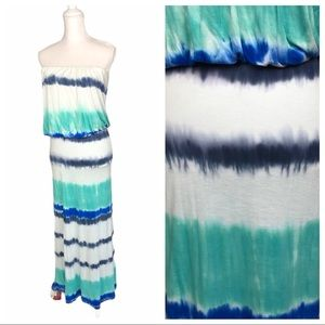 Young Fabulous Broke tie-dye blue green maxi dress